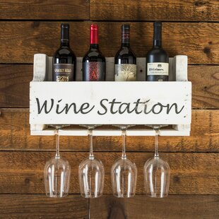 Truluck Wine Station 4 Bottle Wall Mounted Wine Rack
