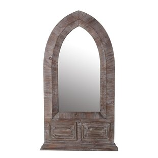 Millwood Pines Artin Distressed Wood Dome Accent Mirror