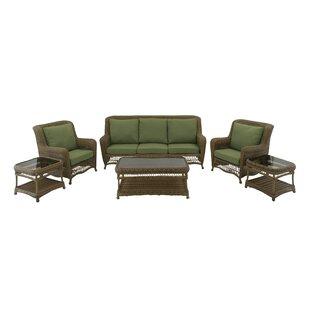 Cole & Grey 6 Piece Rattan Sofa Set with Cushions