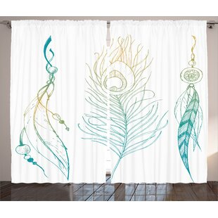 Peacock Feather Decor Graphic Print Light Filtering Rod Pocket Curtain Panels Set Of 2
