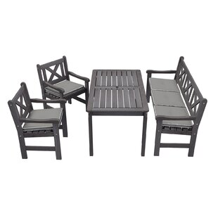Gracie Oaks Irton 4 Piece Dining Set With Cushions