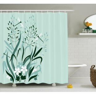 Wanda Country Wild Grass and Dragonflies Single Shower Curtain