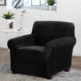 Velvet Plush Form Fit Stretch Box Cushion Armchair Slipcover By Winston Porter