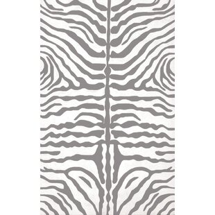 Hand-Hooked Gray/White Indoor/Outdoor Area Rug By The Conestoga Trading Co.