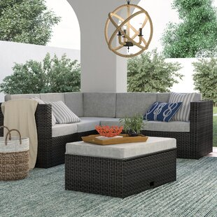 Saltville 4 Piece Rattan Sectional Seating Group with Cushions by Beachcrest Home