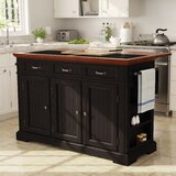 Bunbury Large Kitchen Island with Granite Top by Charlton Home®