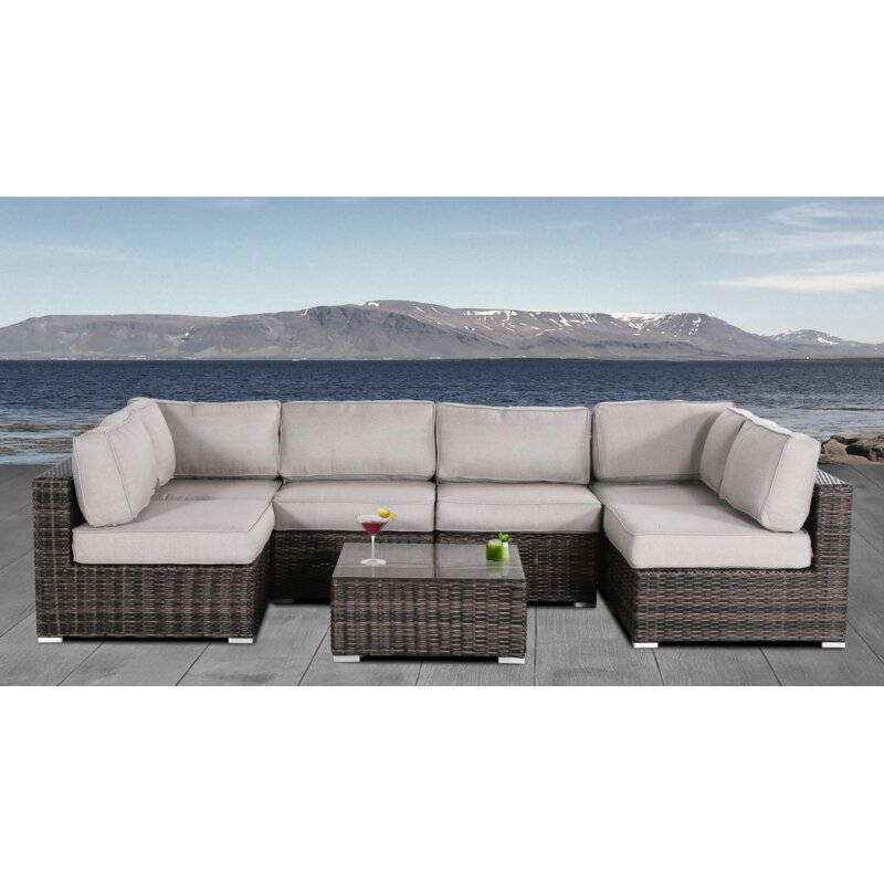 Joss Main Conner 7 Piece Rattan Sectional Seating Group With Cushions Reviews Wayfair