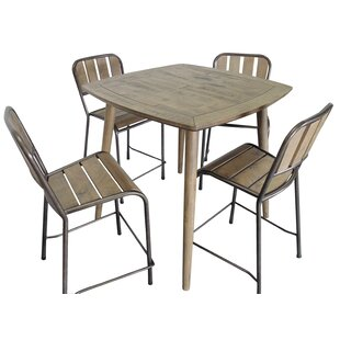 Fritsch 5 Piece Counter Height Solid Wood Dining Set