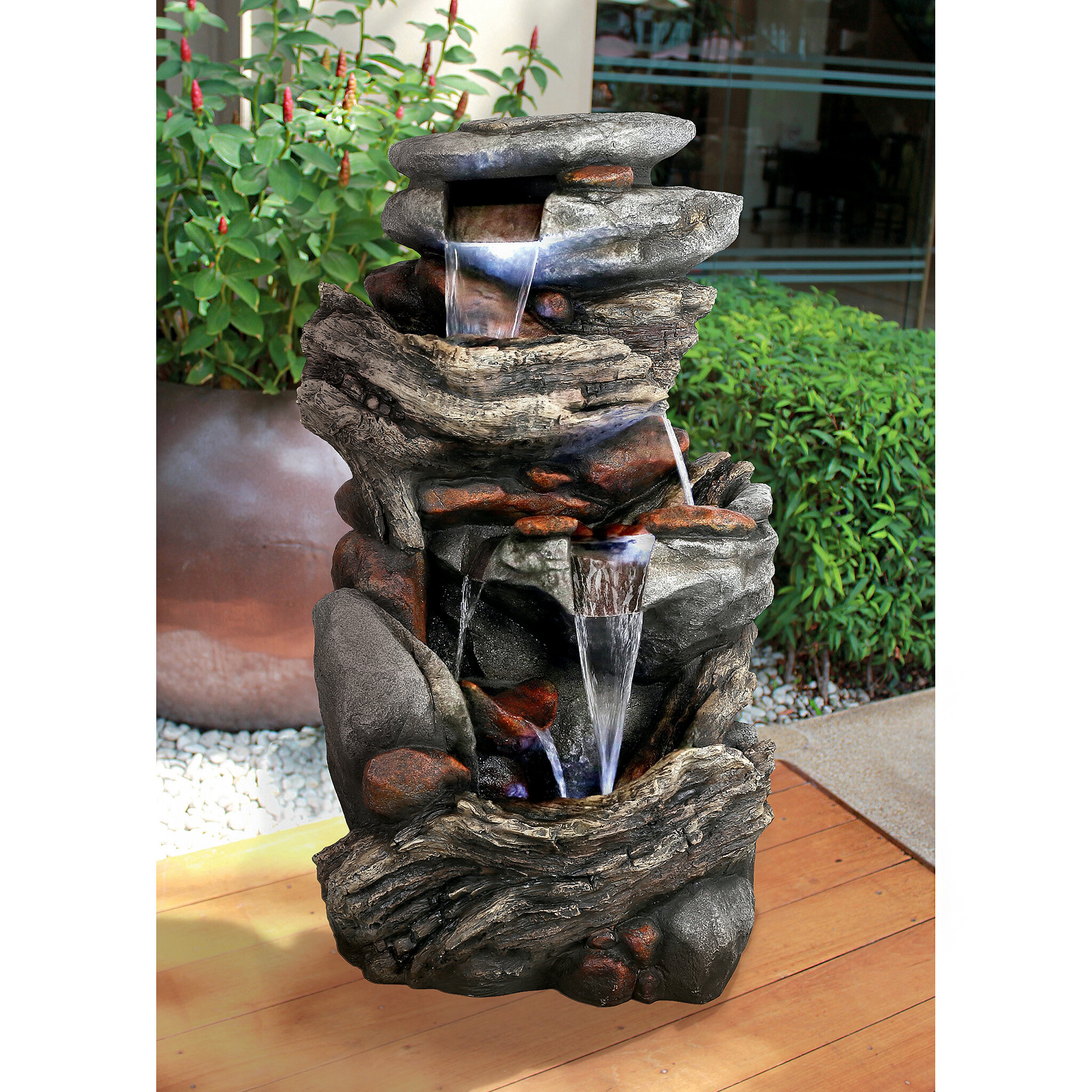 Design Toscano Cathedral Rocks Cascading Waterfall Garden Fountain With  Light | Wayfair
