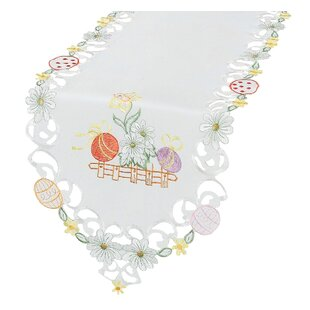 Country Egg Flowers Embroidered Cutwork Table Runner