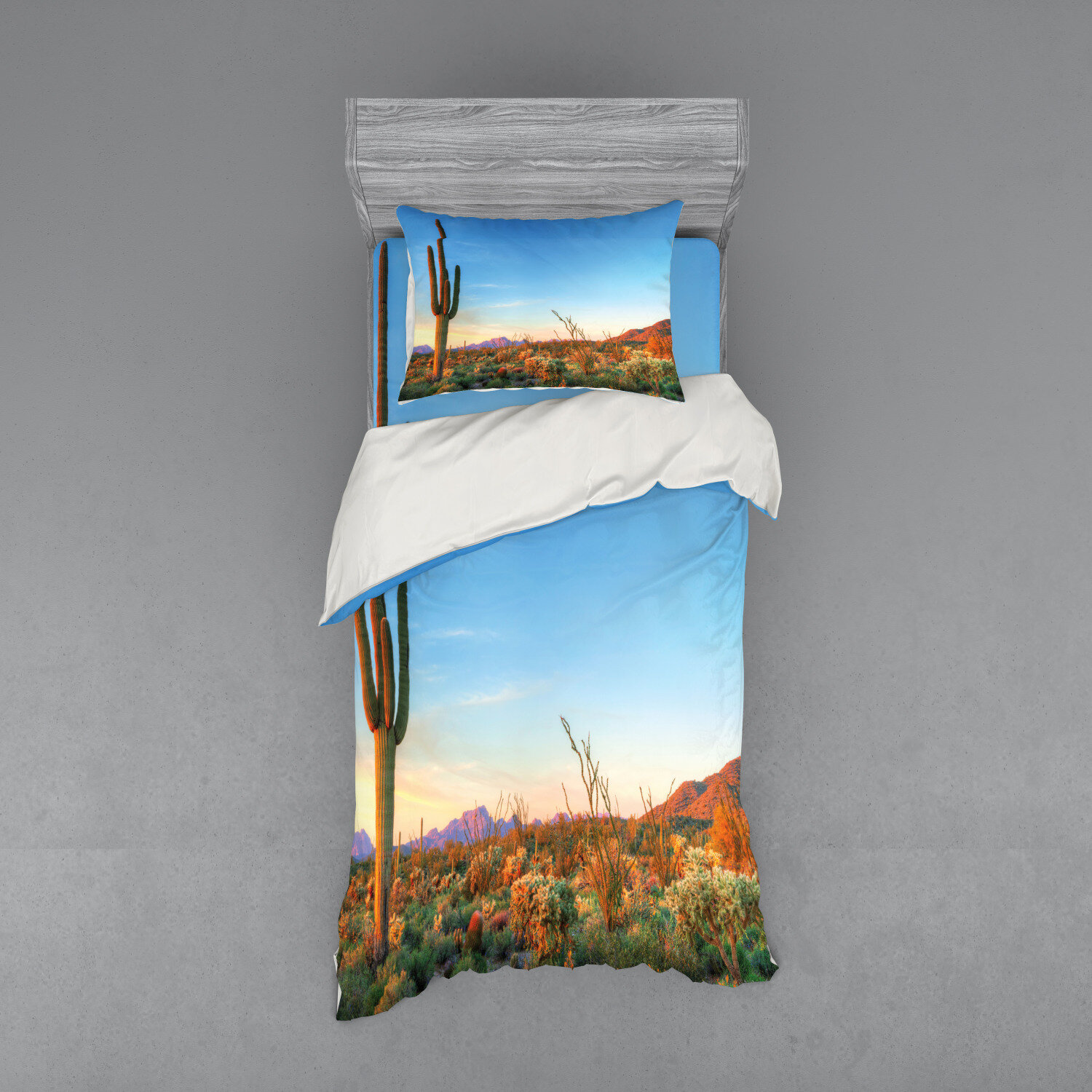East Urban Home Sun Goes Down In Desert Prickly Pear Cactus Southwest Texas National Park Duvet Cover Set Wayfair