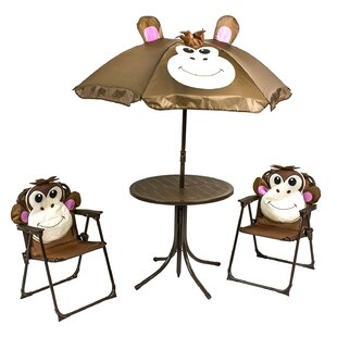 Monkey Kids 4 Piece Round Writing Table And Chair Set