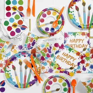 81 Piece Art Party Birthday Paper/Plastic Tableware Set