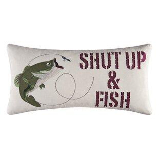 Shut up & Fish Cotton Lumbar Pillow