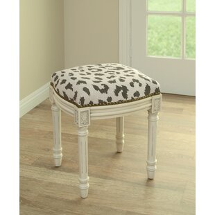 Best Reviews Tyre Rustic Cheetah Linen Upholstered Vanity Stool By Bloomsbury Market
