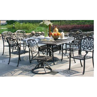 Puccio 9 Piece Dining Set with Sunbrella Cushions by Canora Grey