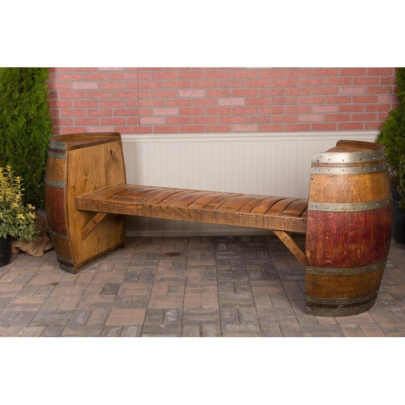 Wine Barrel Wood Garden Bench