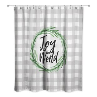 Retha Joy to the World Buffalo Check Single Shower Curtain
