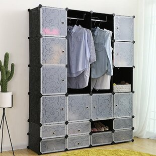 Plastic Closet Interlocking Cube 143cm Wide Clothes Storage System