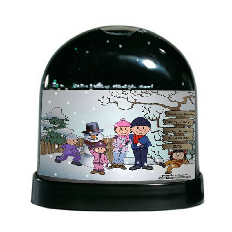 The Holiday Aisle Friendly Folks Cartoon Caricature Three Girls Snowman Family Snow Globe Wayfair