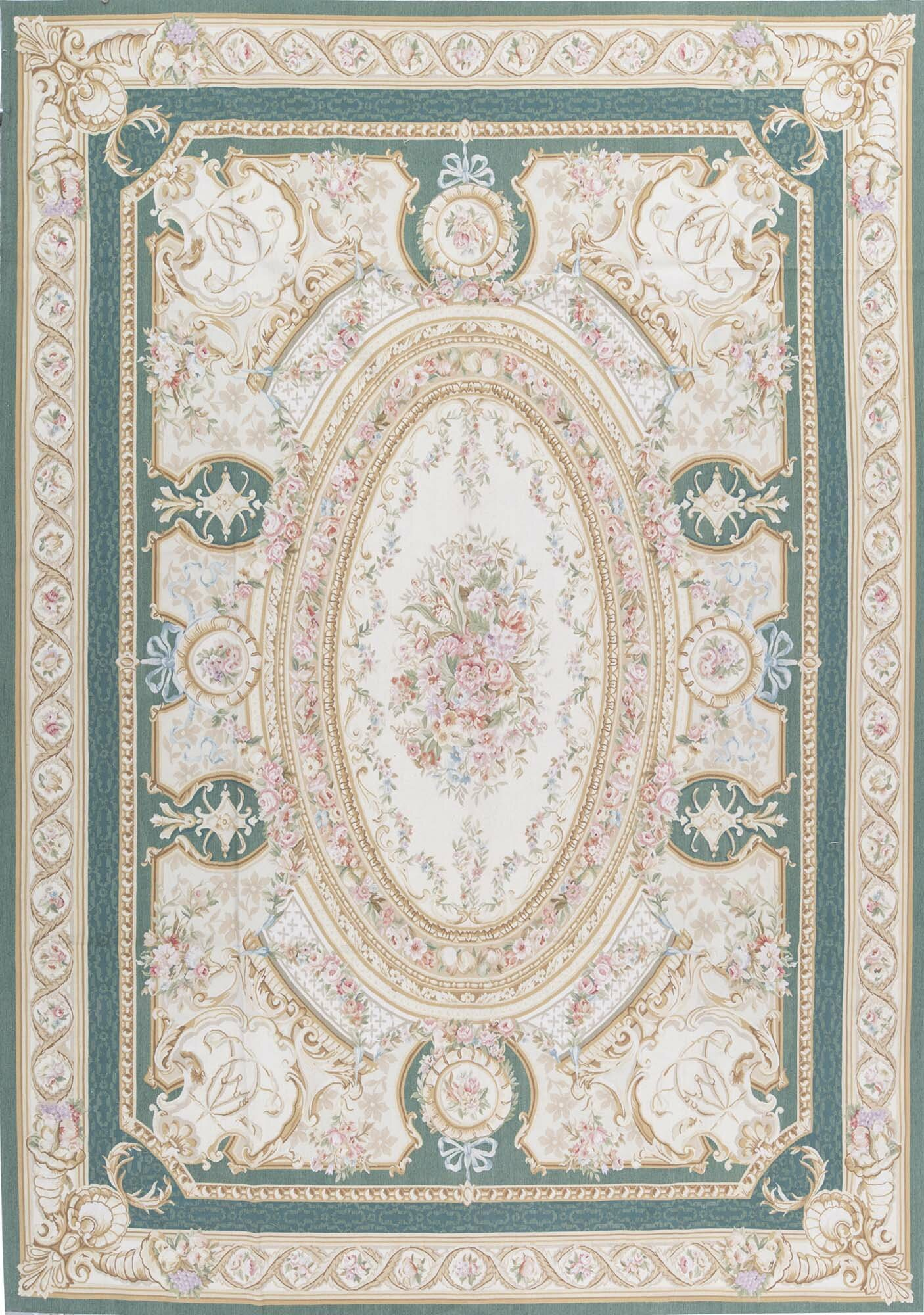 Bokara Rug Co Inc One Of A Kind Aubusson Hand Knotted Green Blush Beige 9 8 X 14 1 Wool Area Rug Wayfair