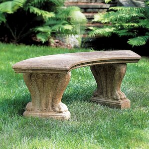Curved West Chester Cast Stone Garden Bench