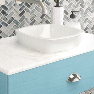 Affordable Amalie Classically Redefined Ceramic Square Vessel Bathroom Sink By DECOLAV