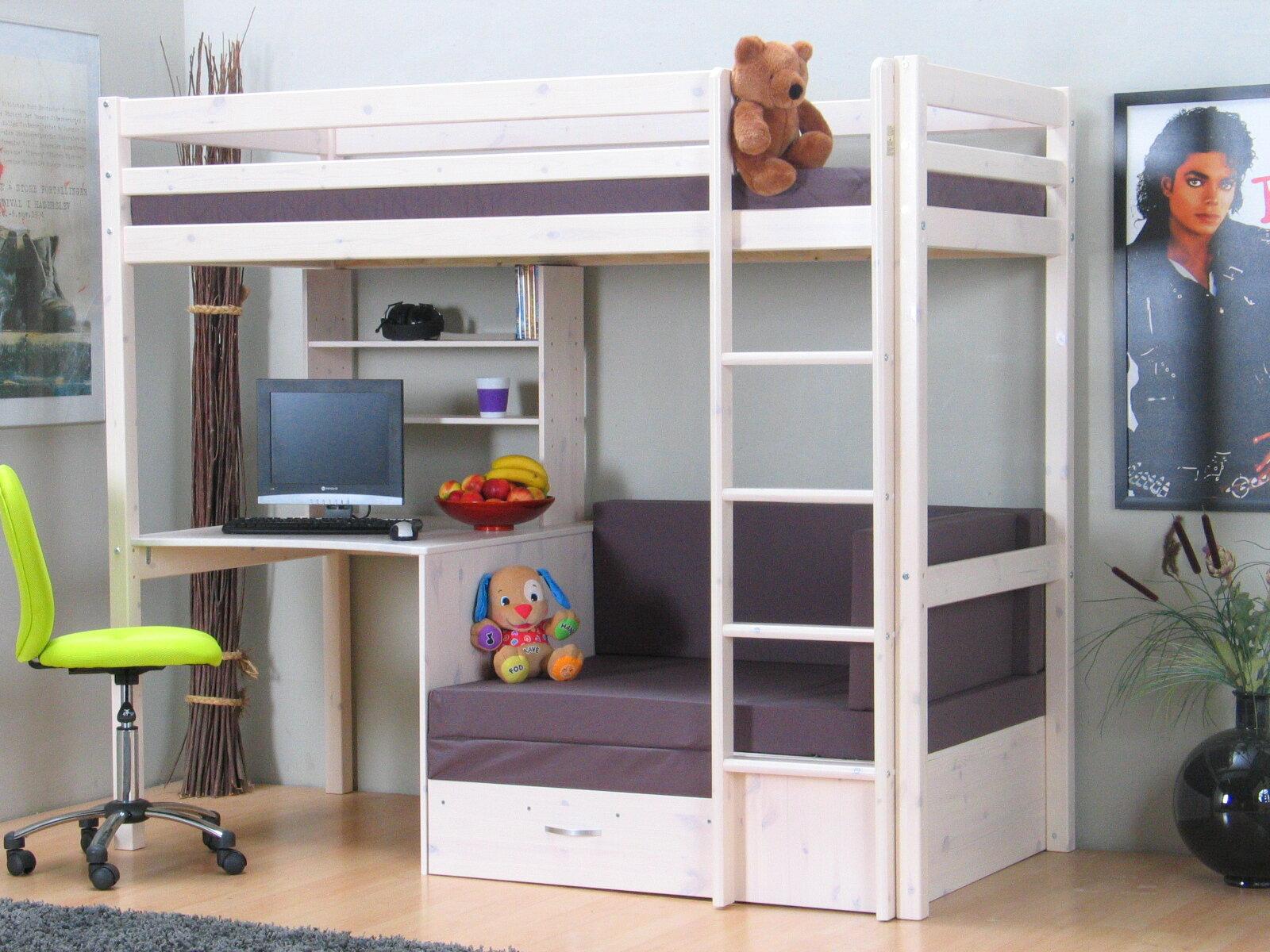 Sofa Zum Etagenbett : Viv rae hochbett devin kids mit couch 90 x 200 cm wayfair.de