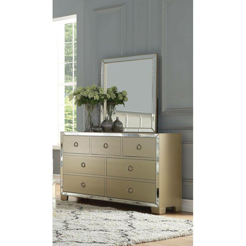 Rosdorf Park Cangelosi 7 Drawer Dresser With Mirror Wayfair