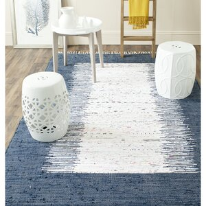 Ona Hand-Woven Cotton White/Navy Area Rug