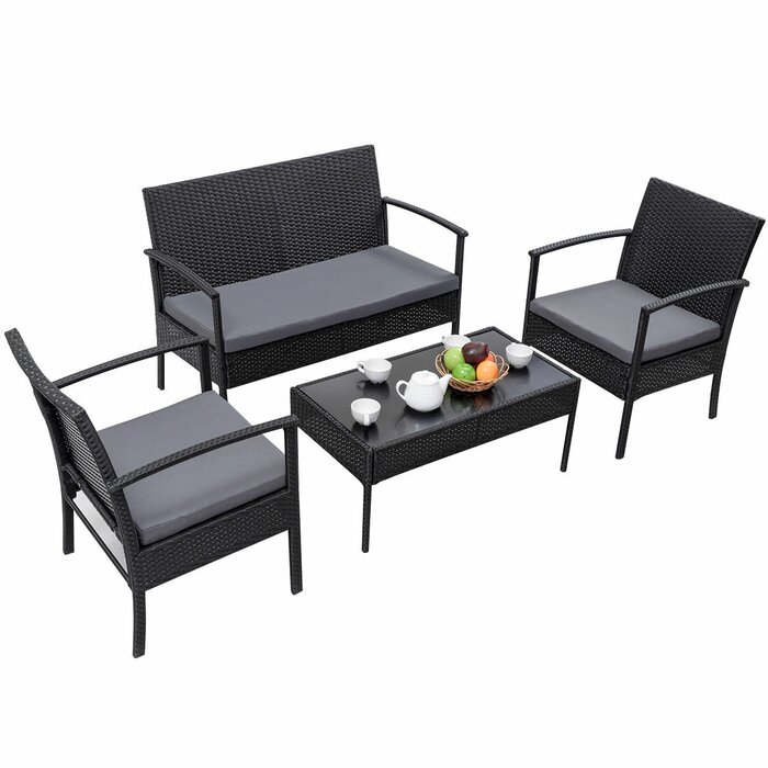 Valerian 4 Piece Rattan Sofa Seating Group with Cushions