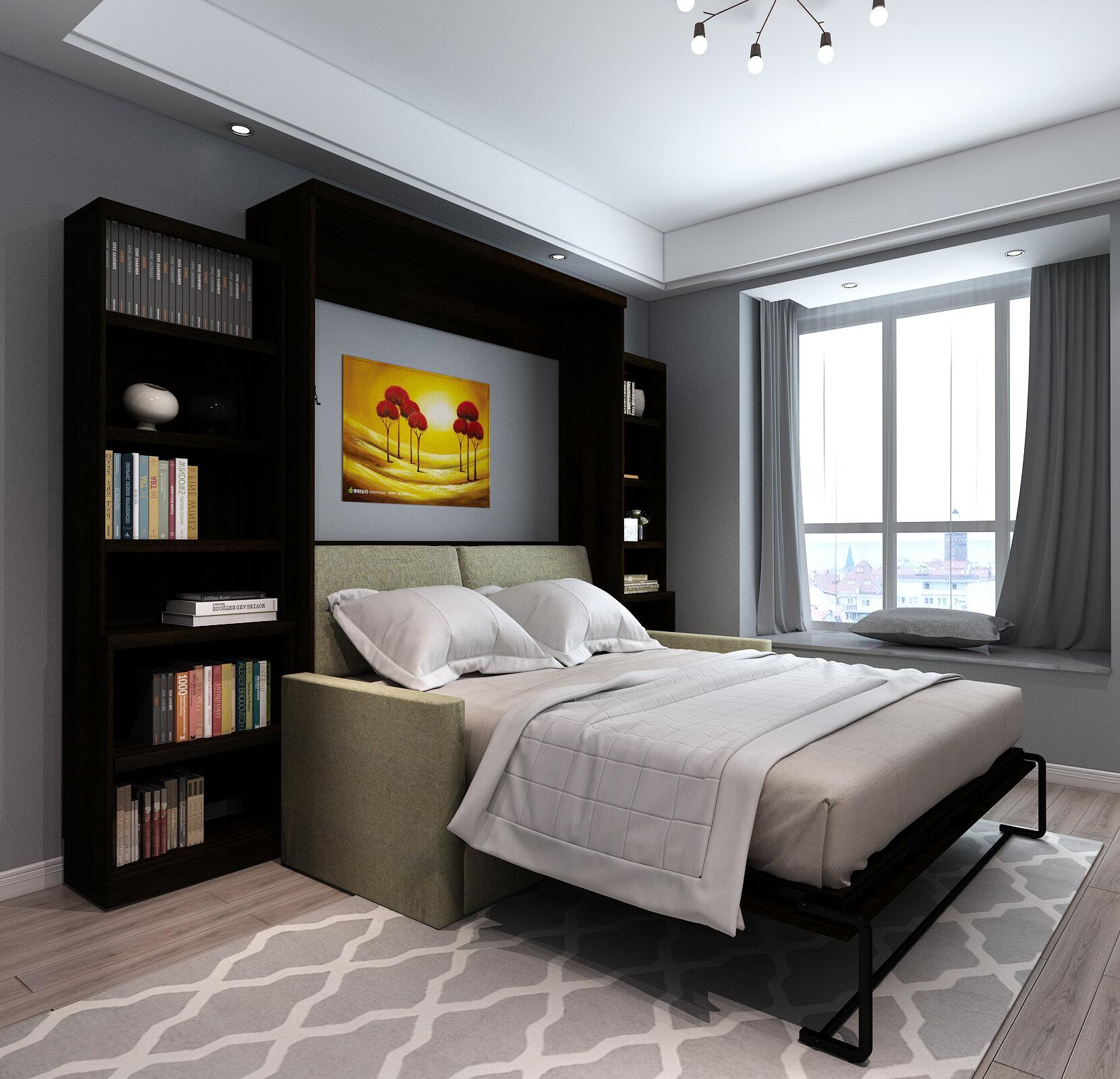 Brayden Studio Munn Queen Upholstered Murphy Bed Wayfair