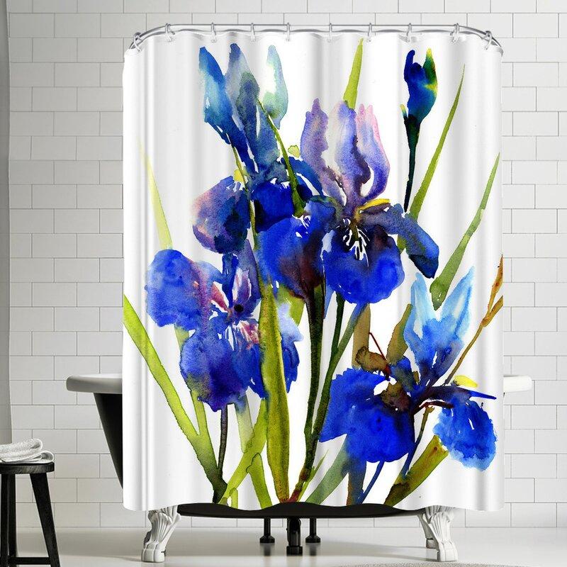 East Urban Home Suren Nersisyan Irises Blue Single Shower Curtain Wayfair