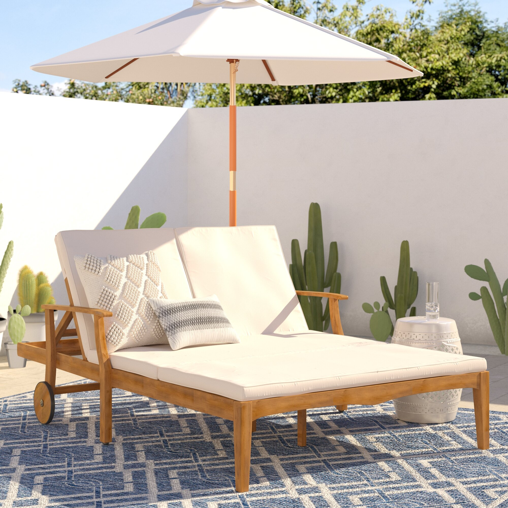 Mistana Antonia Double Reclining Teak Chaise Lounge With Cushion Reviews Wayfair