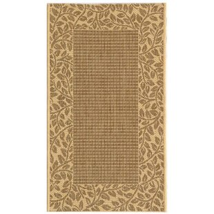 Amaryllis Leaves Border Brown/Natural Indoor/Outdoor Area Rug