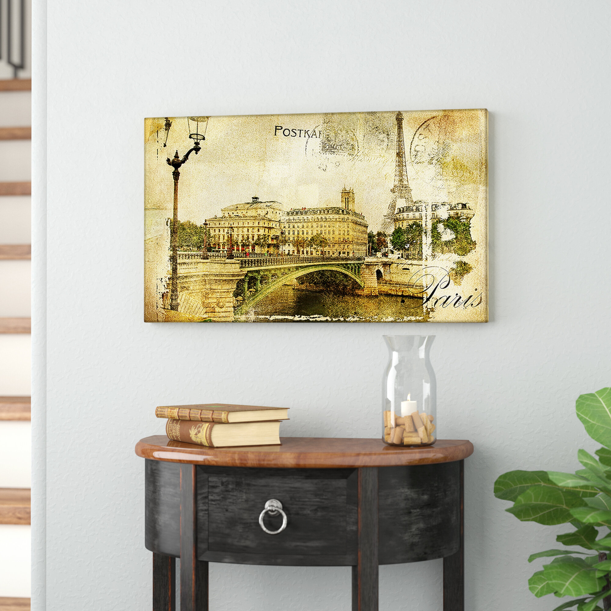 East Urban Home \'Vintage Paris\' Graphic Art Print on Canvas | Wayfair