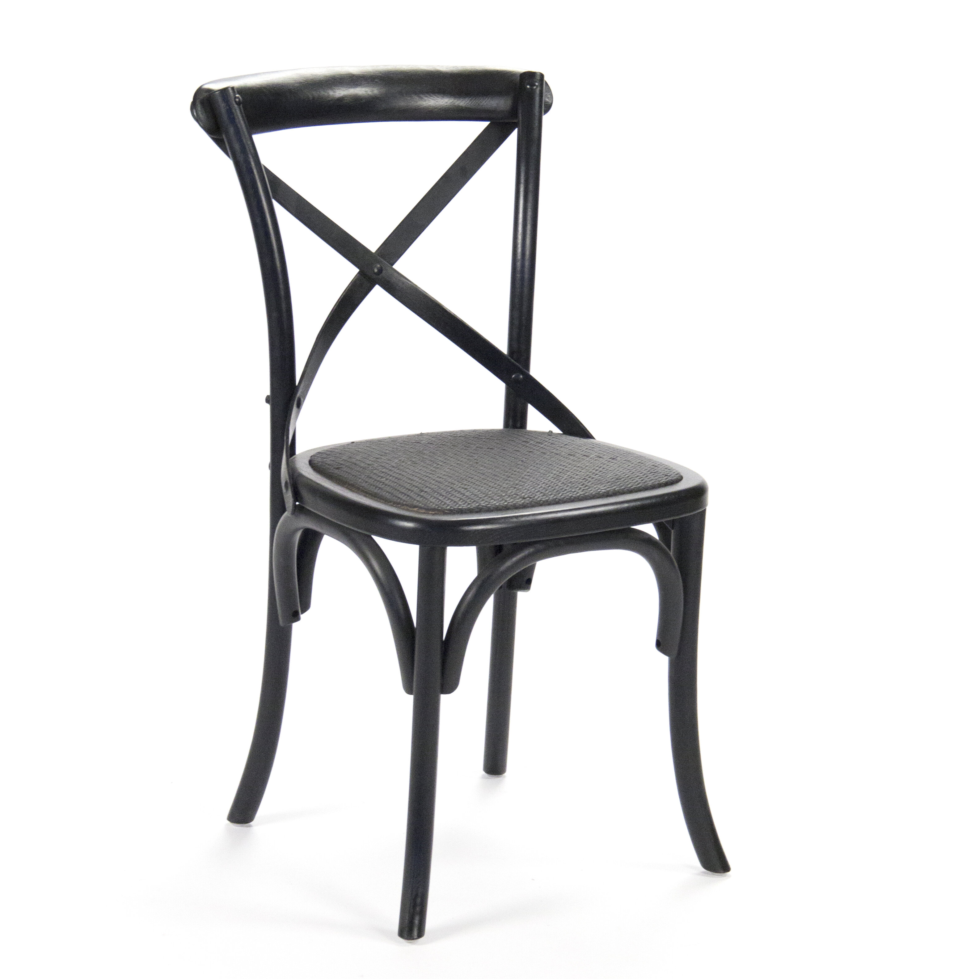 Parisienne Cafe Solid Wood Cross Back Side Chair