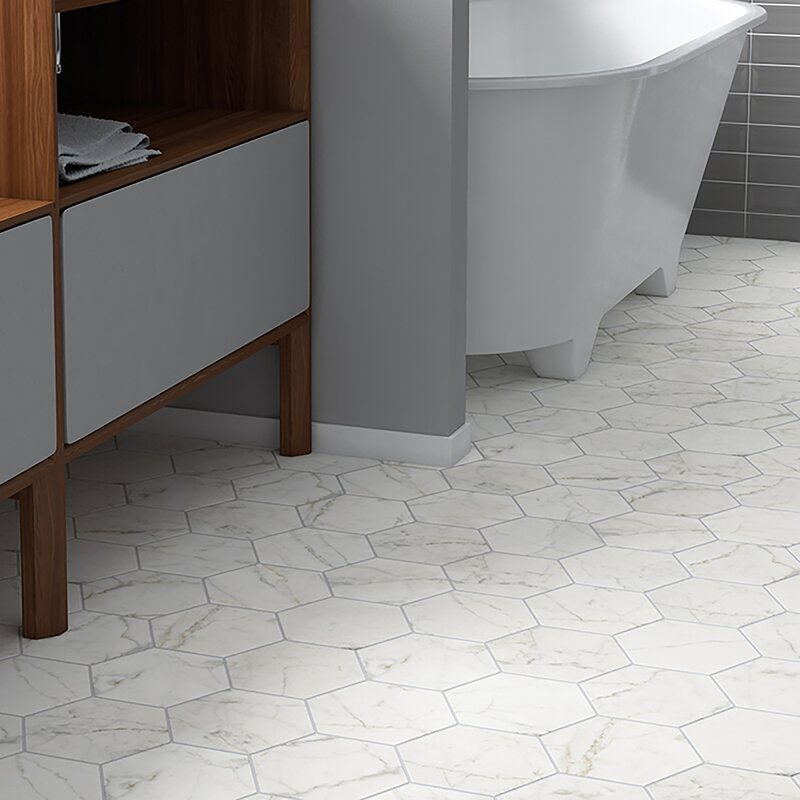 Karra Carrara 7 x 8 in. Porcelain Field Tile in White/Gray