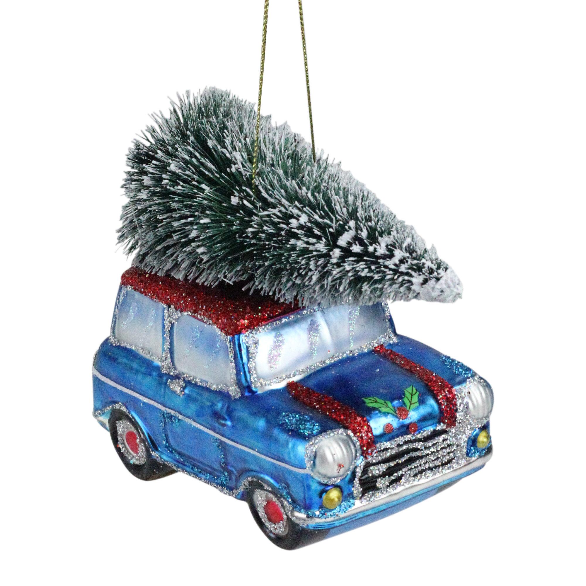 Northlight 4 Blue Glass Station Wagon Hauling Home The Holiday Tree Christmas Ornament Wayfair