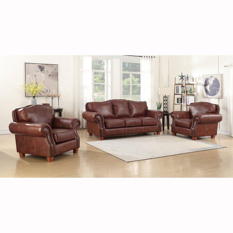 Canora Grey Vranduk 3 Piece Leather Living Room Set ...