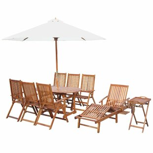 Batres 7 Seater Dining Set With Parasol By Sol 72 Outdoor