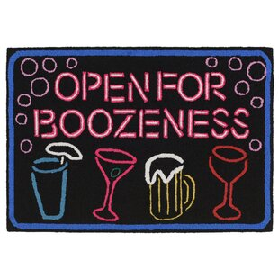 Soper Boozeness Hand-Tufted Black/Pink Indoor/Outdoor Area Rug