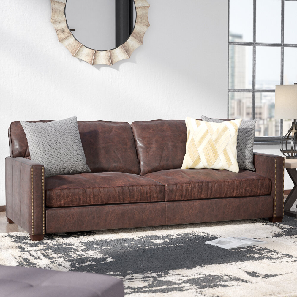 Trent Austin Design Grandfield Nailhead Leather Sofa & Reviews | Wayfair