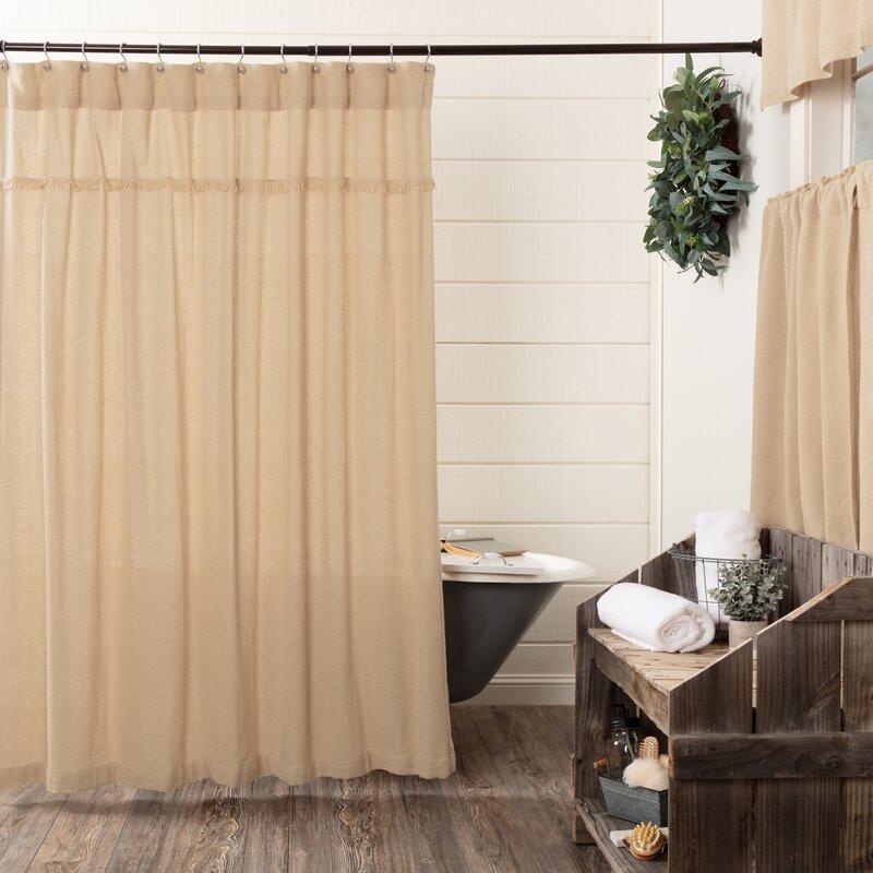 Vassallo Burlap Unlined Cotton Shower Curtain