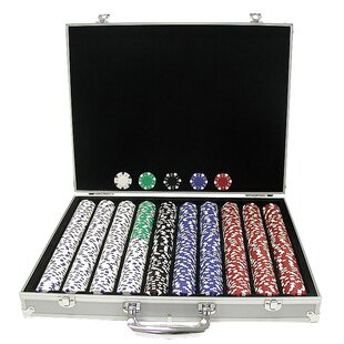 Case with Dice-Striped Poker Chip (Set of 1000) by Trademark Global