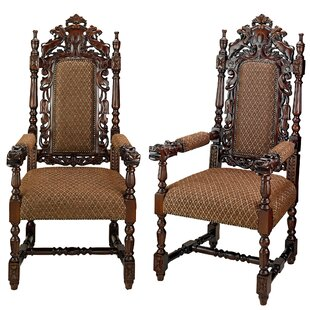 Design Toscano Grand Occasion Hand Carved Heraldic Armchair (Set of 2)