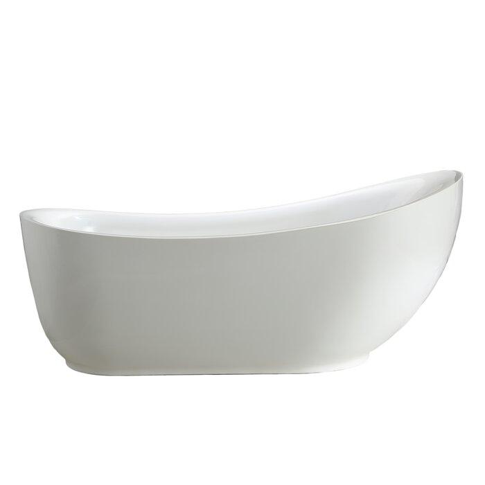 "mtdvanities zuma 71"" x 34"" freestanding soaking bathtub | wayfair.ca"