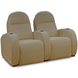 Latitude Run Leather Home Theater Loveseat (Row of 2)