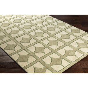 Moultry Hand-Tufted Green Area Rug