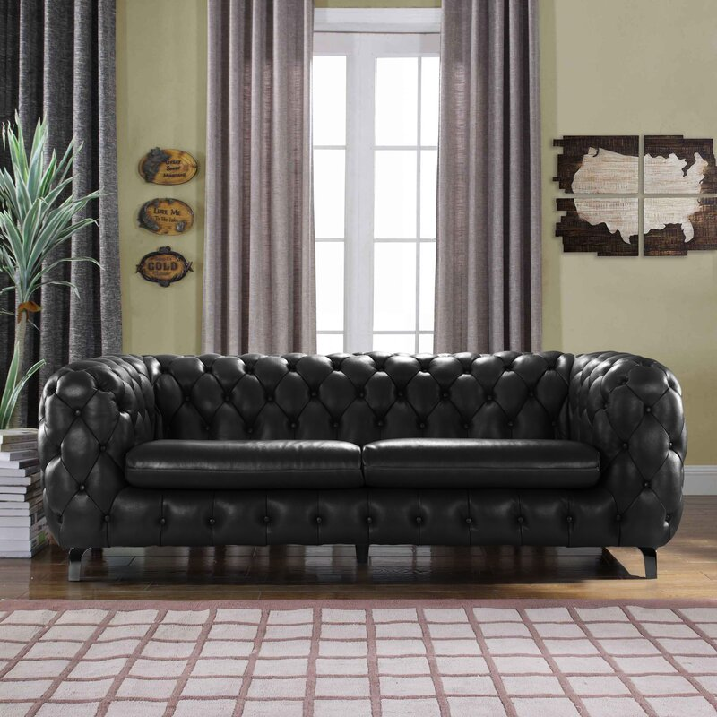 Yuliya Leather Chesterfield Sofa With Built In Shelves